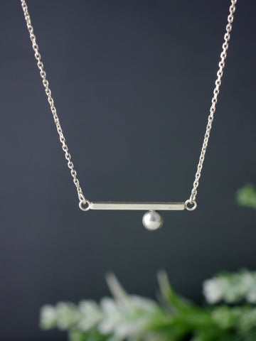 Minimal Grey Crystal Pearl Silver Bar Necklace
