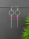 hot-pink-fuscia-pink-statement-long-silver-earrings