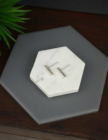 Small Textured Silver Bar Studs