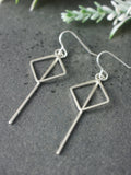 Square Geometric Long Statement Silver Earrings