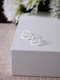 modern simple matt geometric square diamond silver studs