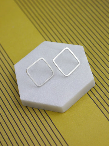 Square Diamond Geometric Silver Studs