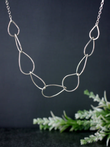 Tear Droplet Silver Chain Linked Necklace