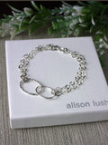Sparkly Double Linked Textured Silver Bracelet