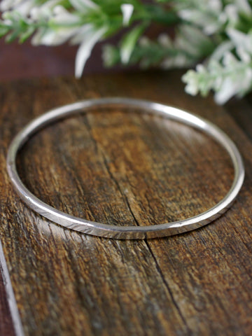 Textured Rounded Solid Silver Bangle