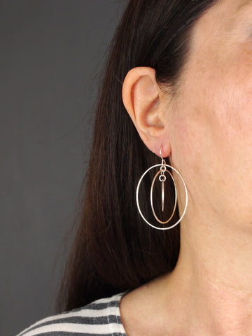 Three Circle Statement Silver Earrings