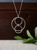 Striking Geometric Silver Circle Necklace
