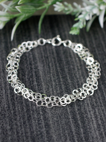 Sparkly Multi-chained Silver Bracelet