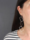 Geometric Rectangular Statement Silver Earrings