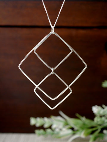 Large Three Squared Long Silver Pendant