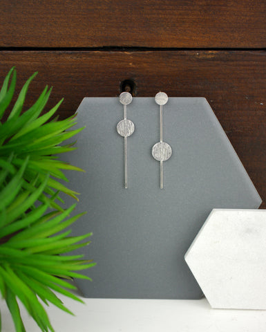 Geometric Asymetrical Two Way Silver Studs