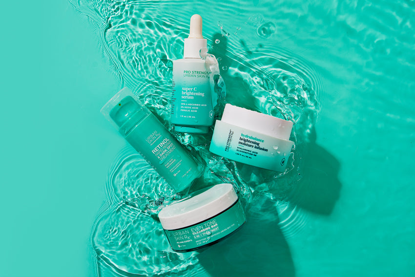 Urban Skin Rx® products, that address the needs of diverse skin tone and hyperpigmentation, floating in water