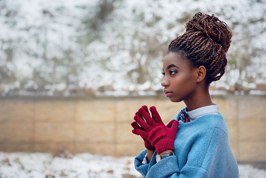african american woman in snow