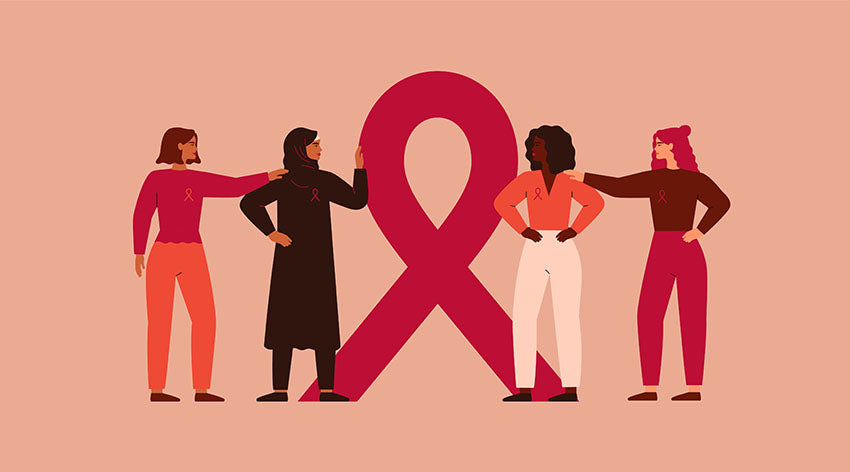 multi cultural women surrounding breast cancer ribbon