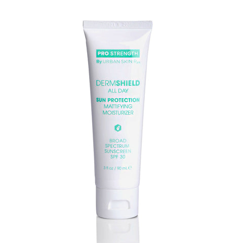 DermShield All Day Sun Protection Mattifying Moisturizer SPF 30 provides advanced sun protection and is powered with an innovative mineral-based formula that helps preserve skin's health and beauty and avoid premature skin aging. Essential to preventing dark marks and uneven skin tone, this powerful sunscreen also helps control melasma.