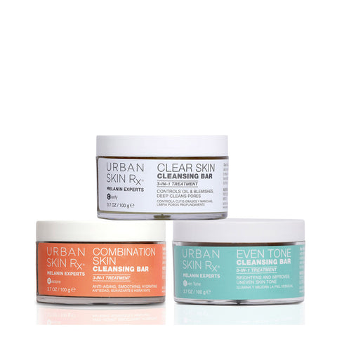 This 3 in 1 Cleansing Bar Treatment Trio is a limited edition set of our three best-selling cleansing products. From dark marks to clogged pores, uneven skin texture to breakouts, these cleansing bars address all of the major and most common skin concerns. In combination, these powerful formulas will help even the tone of scarred and hyper pigmented skin, ease inflammation and breakouts, and brighten lackluster complexions as the result of aging, breakouts and environmental stress.