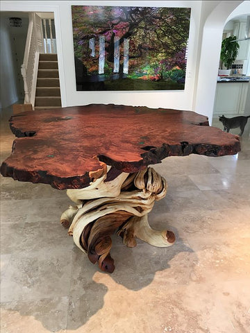 redwood slab bar table