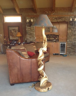 juniper log furniture floor lamp