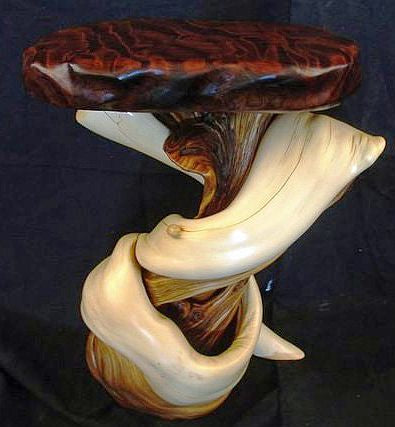 Juniper wood art furniture log end table