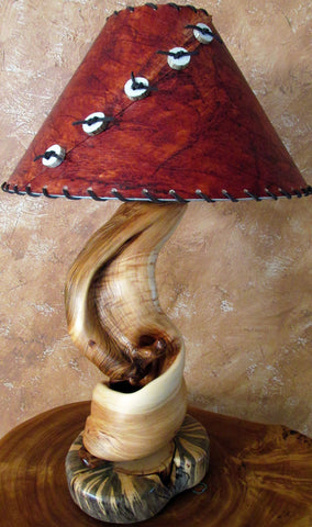 handmade rustic log table lamp
