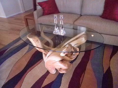 juniper wood glass coffee table pedestal