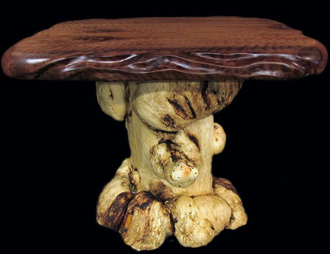 curly redwood slab burl pine wood rustic log end table