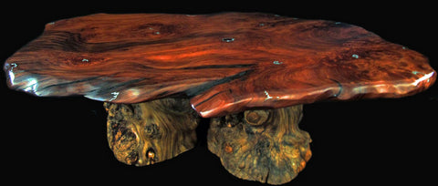 redwood tables with turquoise inlay