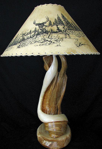 rustic juniper log lamp
