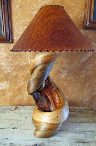 twisted wood end table lamp