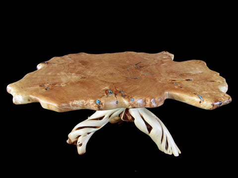 Turquoise Inlay Burl Cottonwood and Juniper Coffee Table