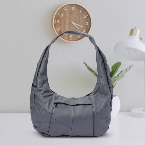 Large Top Zip Hobo Genuine Leather Grey Color