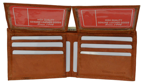 "Men's  Genuine Leather Bi-fold 9"" x 3.5"" Flip Wallet - Assorted Colors - WholesaleLeatherSupplier.com  - 4"