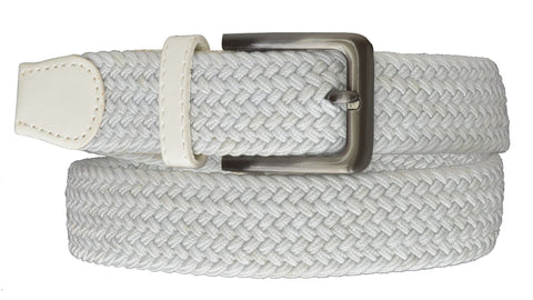 Square Silver Buckle Braided Elastic Stretch Belts - WholesaleLeatherSupplier.com  - 2