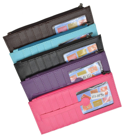 Slim Skinny Unisex  Wallet with 10 Stacked Card Pockets