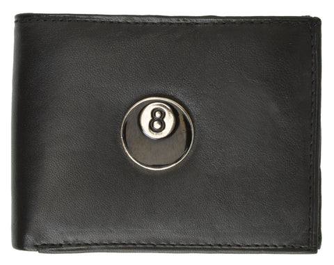 Eight Ball Leather Bi-Fold Wallet