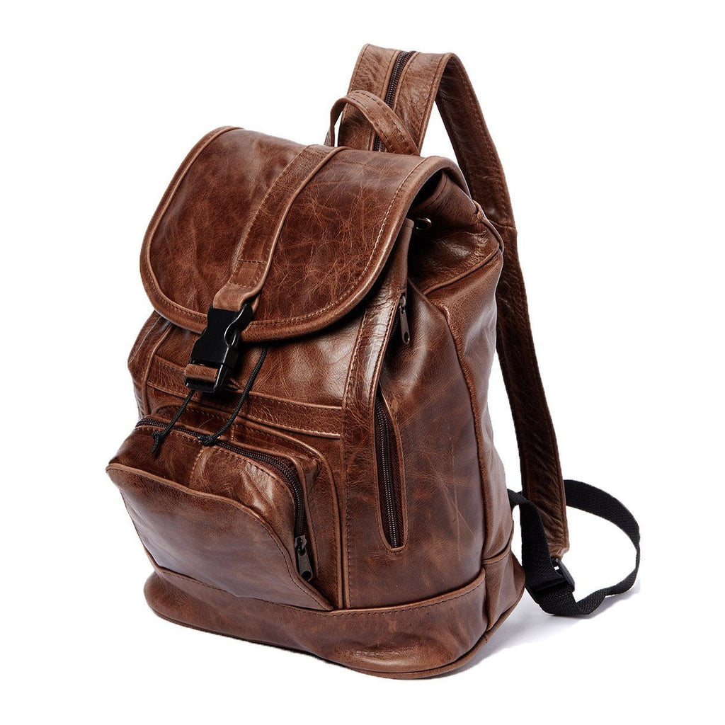 Genuine Leather Backpack with Convertible Strap Super Soft Leather Brown Color