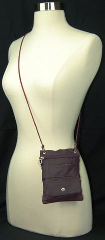 Genuine Leather Cross Body Bag With Front Button Pocket