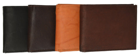 Leather Bi-Fold Wallet -Black