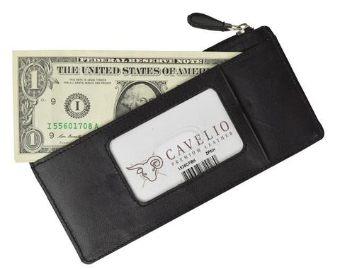 Slim Genuine Leather Credit Card Wallet Unisex / Assorted Colors