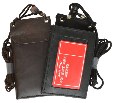 Unisex Genuine Leather Bi-fold ID Holder