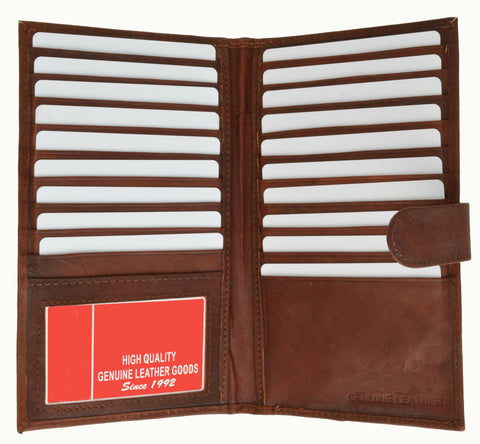 Men's Long Leather Bi-Fold Wallet with Button Closure