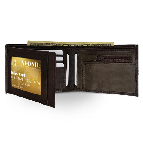 Men Genuine Leather Tri-fold Wallet