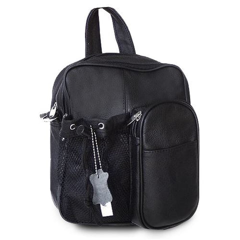 Genuine Leather Backpack -  Black Color