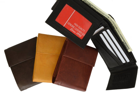 Men's Genuine Leather Bi-fold Safe Wallet - WholesaleLeatherSupplier.com  - 4