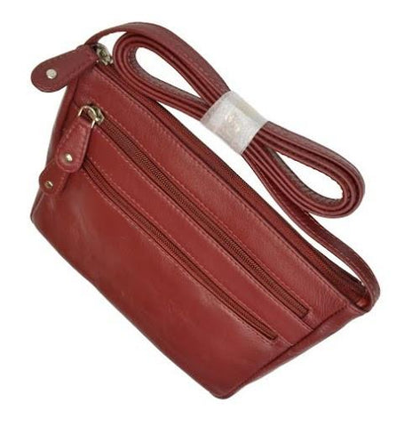 Genuine Leather Zipper Cross Body Bag