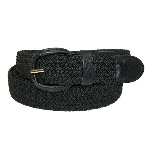 Unisex Braided Elastic Woven Stretch Belt with Genuine Leather Buckle Beige Color