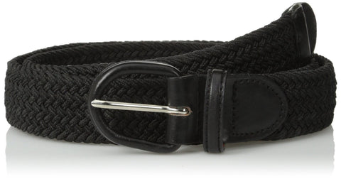 Unisex Braided Elastic Woven Stretch Belt with Genuine Leather Buckle Beige Color - WholesaleLeatherSupplier.com  - 8
