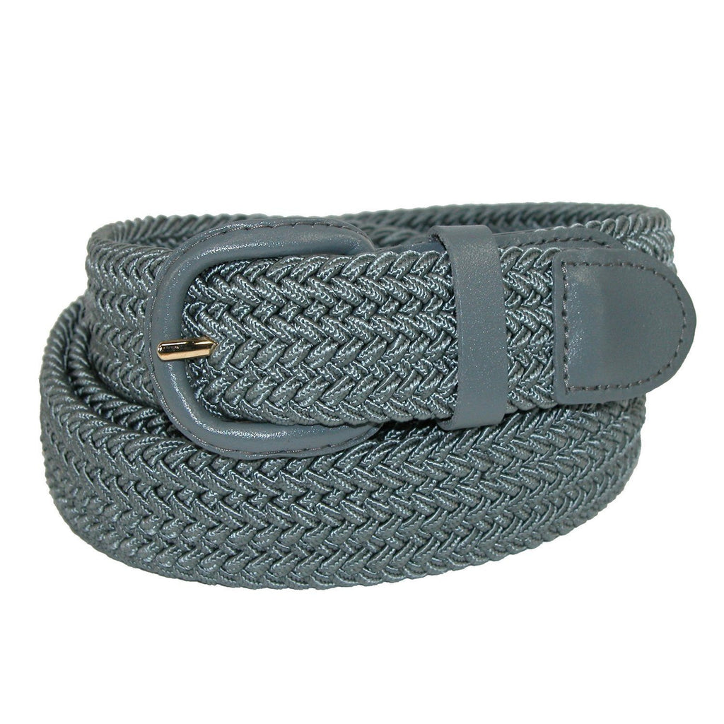 Unisex Braided Elastic Woven Stretch Belt with Genuine Leather Buckle Grey Color