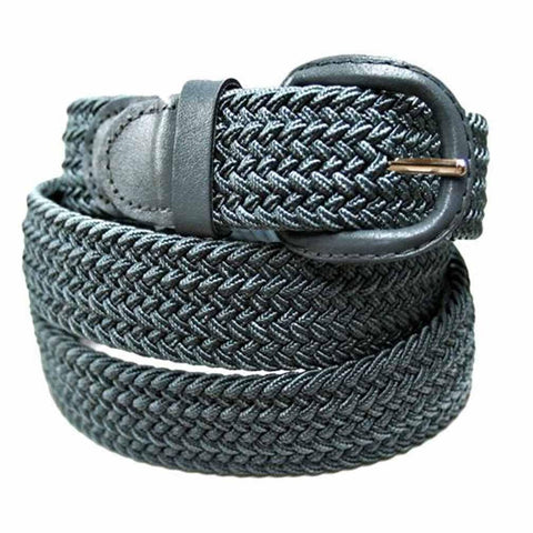 Unisex Braided Elastic Woven Stretch Belt with Genuine Leather Buckle - WholesaleLeatherSupplier.com  - 12