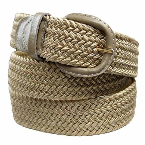 Unisex Braided Elastic Woven Stretch Belt with Genuine Leather Buckle Beige Color - WholesaleLeatherSupplier.com  - 1